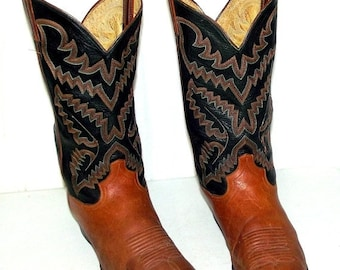 Black and Brown Panhandle Slim Cowboy Boots - mens size 11 B Narrow width