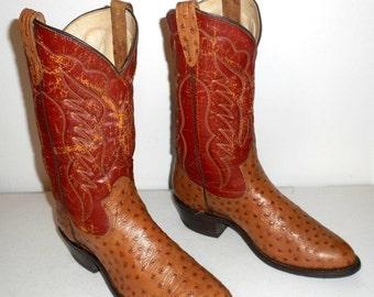 Mens 8.5 D Cowboy Boots Vintage Distressed Tan Brown Faux Ostrich Country Shoes