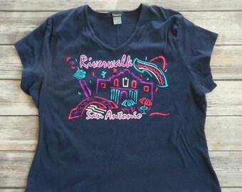 Riverwalk San Antonio T Shirt Dark Blue Size 3XL 3X Texas Alamo Plus Size Tx