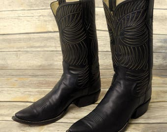 Paul Bond Cowboy Boots Custom Made Black Leather Mens Size 10.5 11 Western Shoes