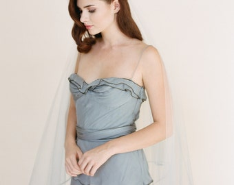 Blue Ombre' Veil, Silver Soutache Bridal Veil, Drop Veil, Dip Dyed Veil, Hand Dyed Ombre' Blue Wedding Veil 1711