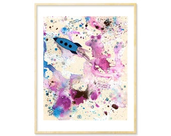Outer Space Art, Abstract Watercolor Print, Galaxy, Ink Splatters, Space Ship, Whimsical Print, Prints Illustrations, Nursery Art, 8.5x11