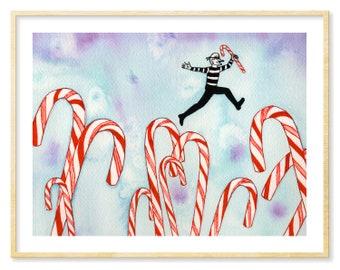 Candy Canes, Fantasy Art Print, Funny Art Print, Burglars, Robbers, Christmas Art, Ice Blue Wall Decor, Whimsical Print, Red, 8.5x11 Print