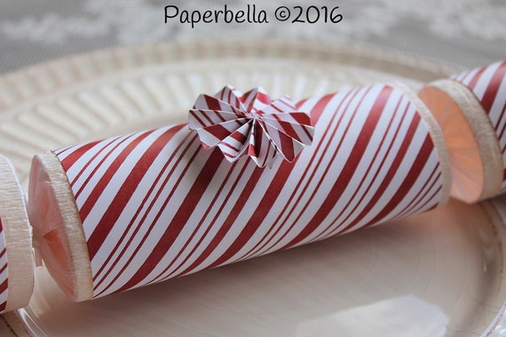 Fill Your Own Party Crackers Christmas Candy Cane Stripes Red White Party Popper, Personalize with Your Monogram and a Paper Rosette