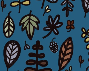 Autumn Fabric - Leaves Night By Anda Corrie - Fall Leaves on Blue Cotton Fabric By The Yard With Spoonflower Fabrics