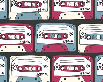 Retro Cassette Tape Fabric -Rock Music Hand Drawn Doodle By Peace_Shop- Mixed Tape Music Cassette Cotton Fabric by the Yard with Spoonflower