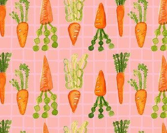 Pink Watercolor Carrot Fabric - Carrots By Pixabo - Summer Veggie Cotton Fabric By The Yard With Spoonflower