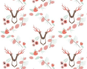 Floral Deer Fabric - Buck In Blush - Jill Bull By Palmrowprints - Girls Woodland Nursery Cotton Fabric By The Yard With Spoonflower
