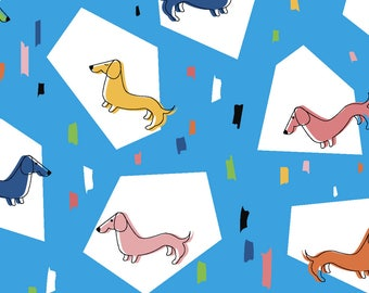 Dog Dachshund Fabric - Retro Weiners By Natalee Wegmann - Dog Dachshund Retro Mod Doxie Cotton Fabric By The Yard With Spoonflower