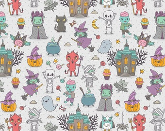 Kawaii Monster Fabric - Happy Halloween Characters By Kostolom3000 - Zombie Witch Devil Cat Ghost Cotton Fabric By The Yard With Spoonflower