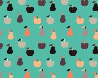 Mod Apples Fabric - Apples + Pears Teal By Kellytucker - Retro Mod Apples Pears Aqua Blue Cotton Fabric By The Yard With Spoonflower