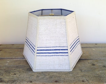 "Farmhouse Blue Stripe Lampshade, Lamp Shade in Vintage Grain Sack Fabric, Hex 9"" top x 14"" bottom x 10"" high, Handmade in VT"