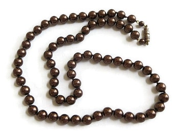 Faux Chocolate Glass Pearls Necklace Vintage