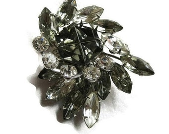 Vintage Layered Spray Brooch Smoke and Clear Rhinestones