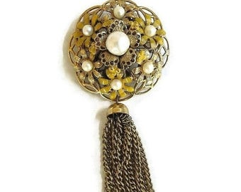 Tassel Dangle Brooch High Domed Enamel Flower Vintage with Faux Pearls