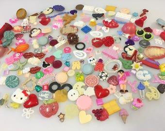 Flower Cabochon Ice Cream People Lips Cake Buttons Cameo DIY Jewelry Cat Bird Kawaii Decoden