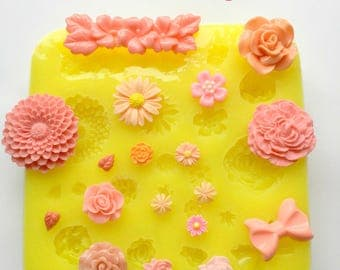 Flower Mold Silicone Flower Resin Mold Fondant Sugar Wax Soap Baking Polymer Clay Flower Mold DIY Cabochon Mold Mum Roses Bow