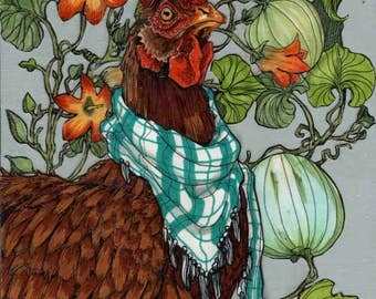 Hen in the Squash- Small Print 4.5x4.5