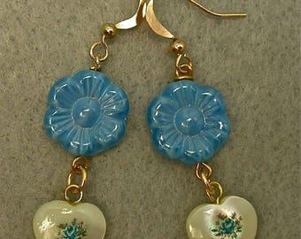 Vintage Japanese Tensha Mother Of Pearl Heart Bead Earrings ,Blue Flower Dangle Drop, Vintage German Blue Pressed Glass Flower Bead,Gold