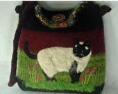 MY BIRTHDAY SALE Felted Purse, Felted handbag, Siamese Cat, Cat Art, Needle Felt Cat,hand knit purse,needle felt art