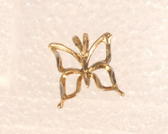 Vintage Butterfly Charm Gold Plated Sterling Small Butterfly Pendant