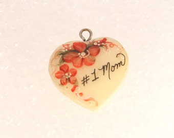 Vintage Mom Mother of Pearl Heart Pendant Charm Hand Painted #1 Mom
