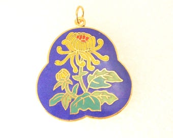 Vintage Blue Cloisonne Pendant Charm Gold Enamel Flower Unique Gorgeous