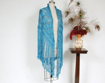 SALE - Vintage 1930s Shawl - Fantastic Woven Rayon Ribbon Shawl in Azure Blue with Long Fringe