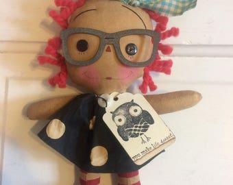 Owl Raggedy Ann - owl doll - Raggedy Annie - ragdoll - primitive doll - Raggedy Ann -
