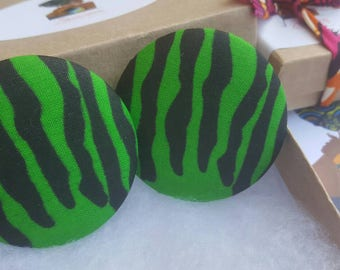 Green fabric button earrings, Gifts for her, Gifts for women