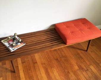 SALE George Nelson Inspired Mid Century Modern Slatted Bench with Orange Cushion