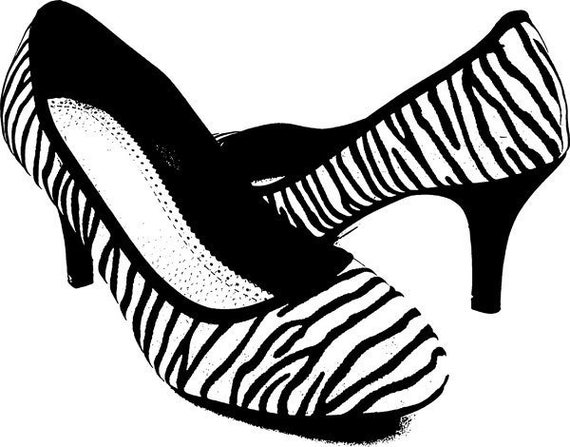 womans zebra high heel shoe clipart png clip art graphics image digital download digi stamp digital stamp womens fashion commercial use