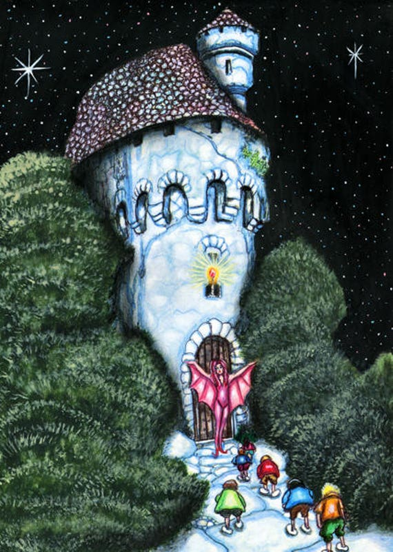 fairytale witch castle children original fantasy art painting trees night paintings original paintings Wall Art Décor Elizavella