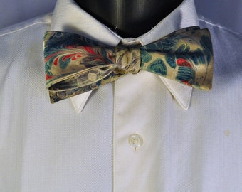 Preppy Man's Bow Tie for All Occasions Hand Marbled With Love Classic Tie Self Tie MM#15-39