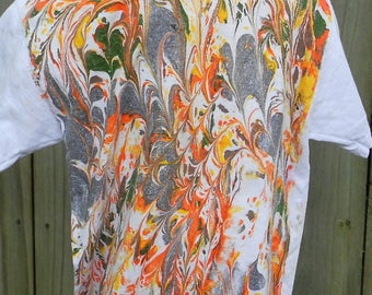 Extra Small Toddler Shirt with Brown, Green, Orange and Yellow Marbling Colors Made in Asheville MM-BS#4