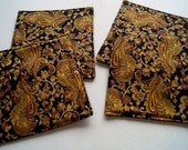 Christmas Quilted Fabric Coasters Set of Four in Elegant Gold Paisley - Quiltsy Handmade