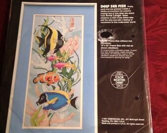 Vintage--1991--Dimensions--Cross Stitch--Kit--Deep Sea Fish--Sealed--Unused