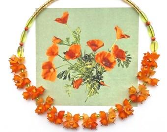 CALIFORNIA POPPIES Statement Choker, Orange Bridal Choker, Flower Choker, Art Nouveau Choker, Handlinked Necklace, Cottage Chic Choker