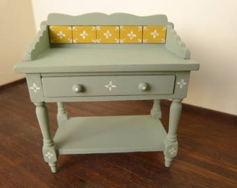 Dollhouse miniature  grey blue washstand in 12th scale