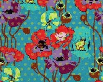 SALE. FQ  quilting cotton Anna Maria Horner Field Study Raindrops and poppies in Candy