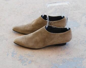 vintage 90s Ankle Boots - 1990s Minimalist Beige Suede Booties - Kitten Heel Boots Sz 9 40