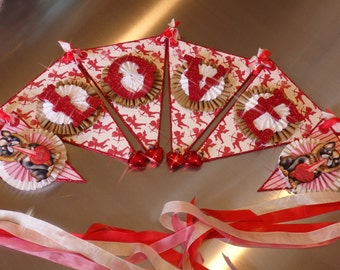 Valentines Banner, with LOVE, Cupids, and Puppies, by Stacy Marie