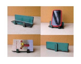 Business Card Holder upcycled office smartphone stand Industrial Decor Minimalist Desk Accessory coworker gift cafe counter card display