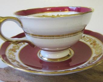 Vintage Bone China Teacup Saucer Demitasse GROSVENOR England Maroon Gold Floral Trim  Pedestal Ornate