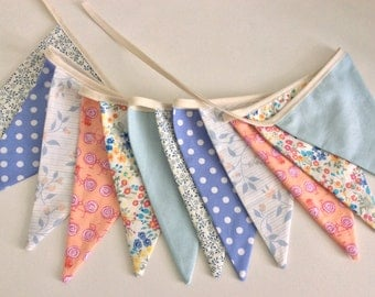 Bunting - Blue peach bunting, floral Fabric Garland, Wedding Bunting, Girl's Bedroom