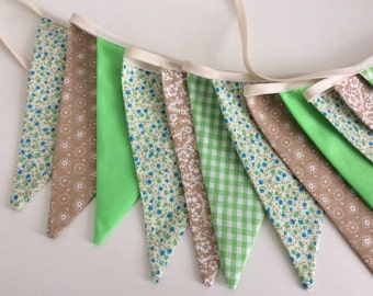Bunting - green blue beige floral bunting 12 flags, spring fabric garland in florals