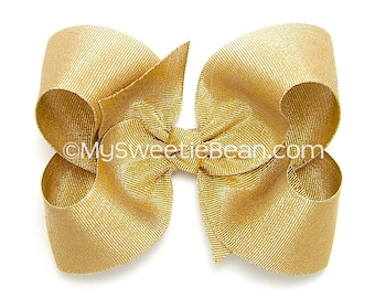 Gold Hair Bow, Metallic Gold Grosgrain Hair Bow for Girls, 4 inch Boutique Bow Special Occasion Metallic Bow 14K Gold Bow Baby Toddler Girls