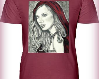 "Portrait T-Shirt : ""Invite Me In"" - Deborah Ann Woll Jessica Hambry True Blood Vampire Red Riding Hood"
