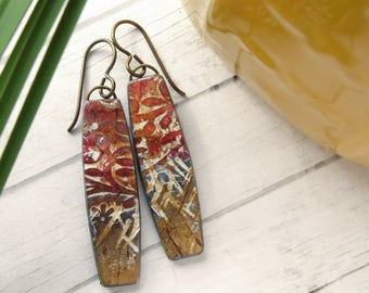Polymer Clay Earrings Jewelry featuring an Abstract Vine and Scratches Design in Brown, Bronze and White
