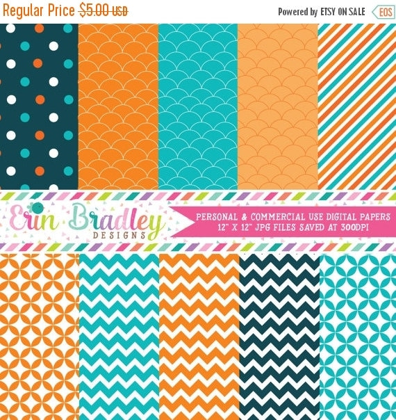 70% OFF SALE Digital Scrapbook Papers Personal and Commercial Use Teal Blue and Orange Medley